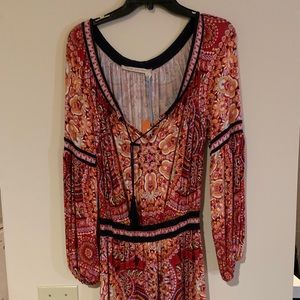 Red Print Boho Dress by Chelsea and Violet